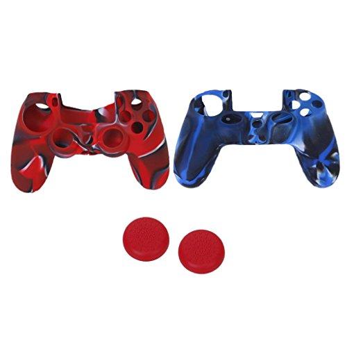 MagiDeal 2X Funda Cubierta de PS4 Controlador Mando A Distancia Remoto con 2 Pares de Tapas Joystick de Silicona Protección
