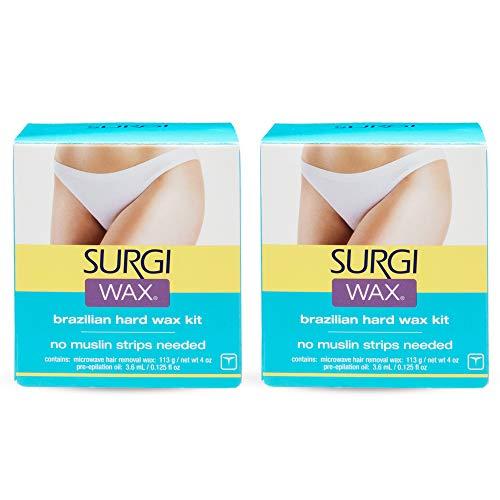 Surgi Brazilian Microwave Hard Wax Kit 4 Oz, 2 Pack