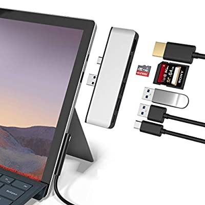 Surface Pro 7 USB C Hub, Rytaki 6-in-2 aluminum Surface Pro 2019 Adapter Dock with 4K HDMI + USB C Audio & Data transfer Port +2 USB 3.0+SD/TF Card Reader, Converter Combo Adaptor for Surface Pro 7