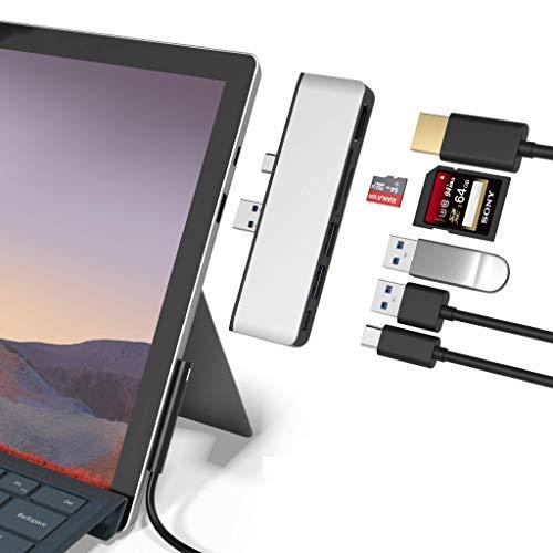 Microsoft Surface Pro 7 USB C Hub Docking Station, 6-in-2 Aluminium Surface Pro 7 USB Hub mit 4K HDMI, Type C Port, 2 x USB 3.0-Ports, SD/TF Kartenleser für die Surface Pro 7(2019)