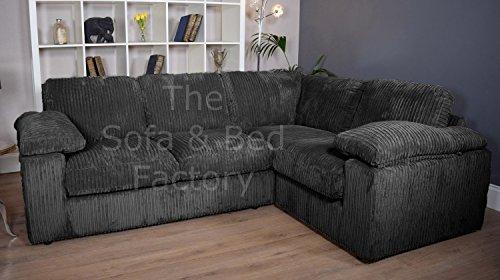 Ruxley Large Fabric 4 Seater Corner Sofa - 2 Corner 1 - Black (2 Corner 1)