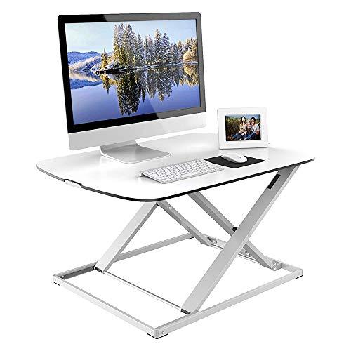 Table FEI - Bureau Debout Ultra Fin réglable en Hauteur - Bureau Compact pour Tous Les postes de Travail - Blanc