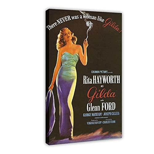 Poster in tela con film dell'attore Rita Hayworth Gilda, decorazione per camera da letto, sport, paesaggio, ufficio, decorazione regalo, 60 x 90 cm
