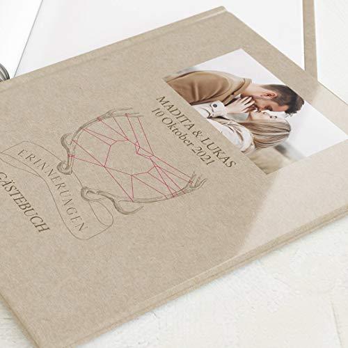 sendmoments Gästebuch mit Ihrem Wunschtext & -Bild gestalten Hochzeit, Liebesgeweih, hochwertige Blanko-Innenseiten, 32 Seiten oder mehr, Hardcover-Buch, A4 Hochformat - Kraftpapier Rustikal