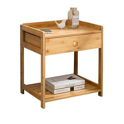 Table XIAOYAN de Nuit Simple avec tiroirs Meuble de Rangement Nordique en Bois Massif avec/sans roulettes 4 Tailles en Option (Taille : 46.5 * 38 * 52cm-1 Drawer)