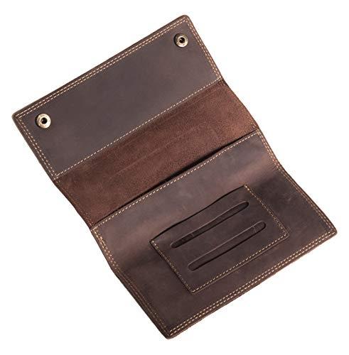 ANDERS Borsa in pelle per tabacco rotolante scuro custodia in pelle unisex marrone