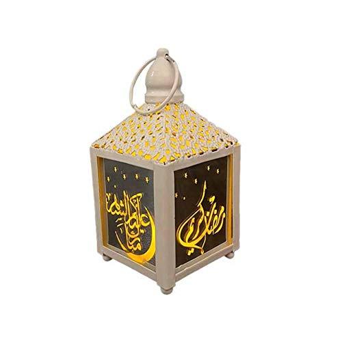 Pangyan990 LED-Ramadan-Laterne, warmweißes holografisches 3D-Sternenlicht, kleine Tischdekoration für Hochzeitsdekoration oder Ramadan-Dekoration
