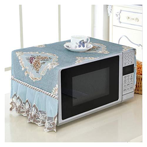 JINAN Housse de protection anti-poussière pour four à micro-ondes en dentelle - Résistant à l'usure et à la poussière - Décoration de cuisine durable - Couleur : bleu
