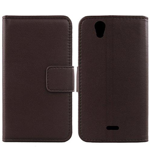 Gukas Design Echt Leder Tasche Für Wiko Birdy 4G Hülle Lederhülle Handyhülle Handy Flip Brieftasche mit Kartenfächer Schutz Protektiv Genuine Premium Hülle Cover Etui Skin (Dark Braun)