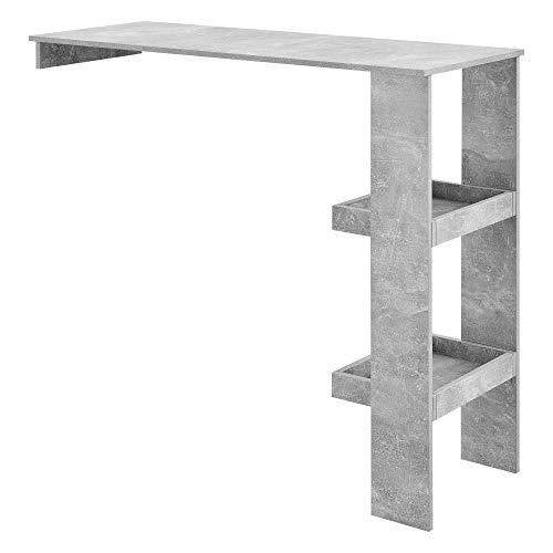 [en.casa] Mesa de Bar Sölvesborg Mesa de Bistro Elegante 120 x 45 x 106 cm Mesa Alta de Cocina con 2 Estantes Integrados Efecto hormigón