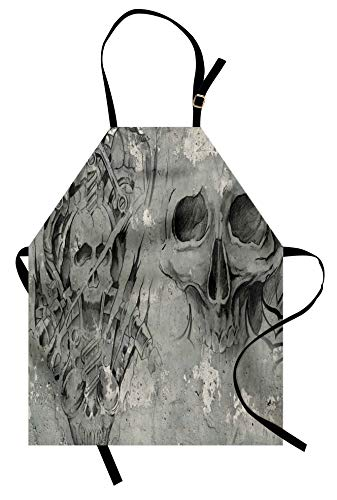 Lunarable Tattoo Apron, Scary Dead Skull Skeleton Demon Gothic Elements with Tribals Design Print, Unisex Kitchen Bib with Adjustable Neck for Cooking Gardening, Adult Size, Grey