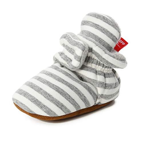 TMEOG Unisex-Baby Neugeborenes Fleece Booties Bio Baumwoll-Futter und rutschfeste Greifer Winterschuhe (0-6 Monate, B_Weiß/Grau)