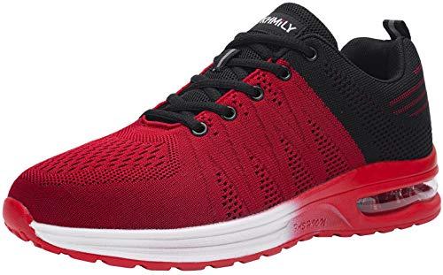 DYKHMILY Zapatillas de Seguridad Hombre Ligeras Comodo Calzado de Seguridad Deportivo con Puntera de Acero Zapatos de Seguridad Trabajo Verano Construcción Zapatos(Negro Rojo,43 EU)