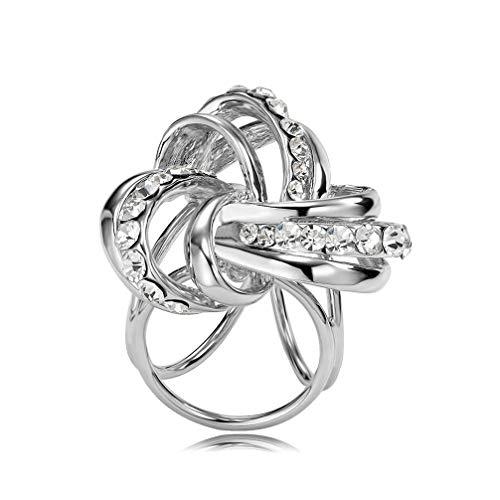 TENDYCOCO Diamantes de imitación para mujer decorados 3 anillos de flores chal bufandas hebilla clips de anillo para accesorios de boda