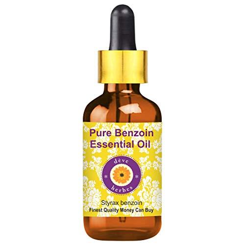 Huile essentielle de benzoïne pure Deve Herbes (Styrax benjoin) avec compte-gouttes en verre 100% naturel de qualité thérapeutique distillé à la vapeur 100ml (3,38 oz)