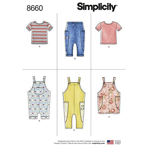 Simplicity Schnittmuster 8660 Tops, Hosen, Latzhosen, Kleider, Pinafores