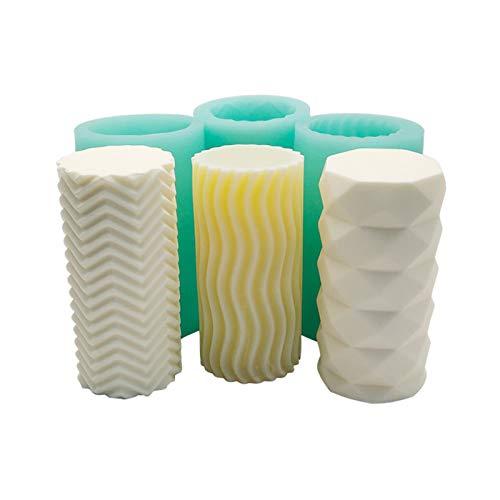 Silikonform 3D Kerzen Gießform Basteln Kerzenherstellung Gießformen, Welligkeit Zylinder Aromatherapie Kerze DIY, für Herstellung Kerzen, Aromasteinen, Schokolade, Seife, 12*6cm (Vertikale Linien)