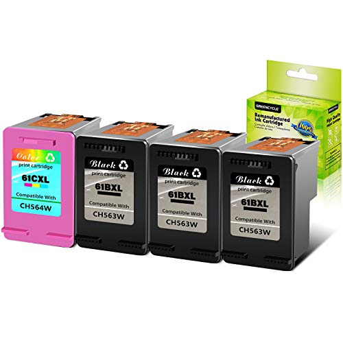 GREENCYCLE 4 PK Remanufactured Ink Cartridge Compatible for HP 61XL 61 XL CH561WN CH562WN Envy 4500 5530 5534 5535 Deskjet 2540 1000 1010 1512 1510 3050 4630 2620 4635 Printers (3 Black, 1 Tri-Color)