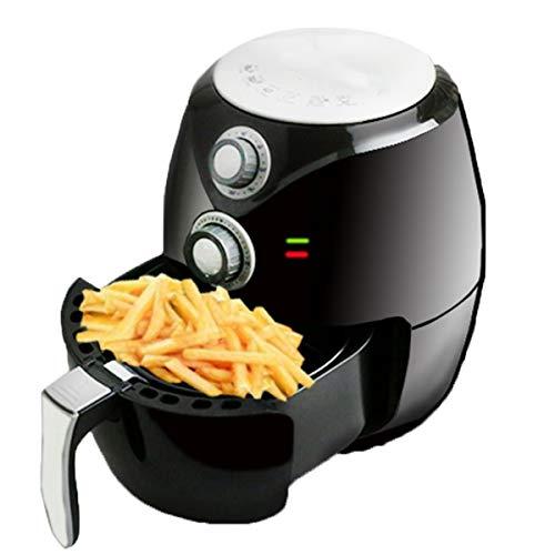 Huaishu Pneumatische friteuse met snelcirculatiesysteem, timer en temperatuurregeling voor gezond koken zonder olie of vet, 1400 W, 2,6 liter