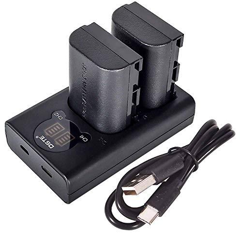 DSTE LP-E6 LPE6 Batería recargable (paquete de 2) y cargador USB dual LED inteligente compatibles con Canon EOS 5D Mark II, DS Mark III, 5D Mark IV, 5DS, 5DS R, 6D, 7D, 7D Mark II, 80D, 70D, 60D, 60Da