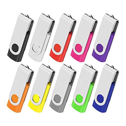 Cle USB 1GB Clé USB 2.0 Lot de 10 Mémoire Stick Lecteur USB Flash Drive Stockage Rotation Disque Pendrive pour Ordinateur Portable PC Voiture (10 Couleurs)