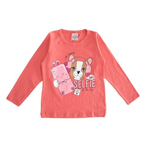 Kit 5 Camisetas Blusa Manga Longa Infantil Menina Cotton Desenho do tecido:Sortido;Tamanho:8