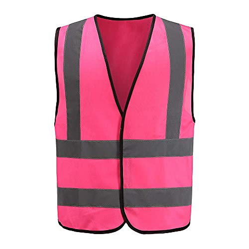 Auto Warnweste, Sicherheitsweste, Pannenweste für Auto, Fahrrad, Waschbar, arbeschutzkleidung (L, Pink)