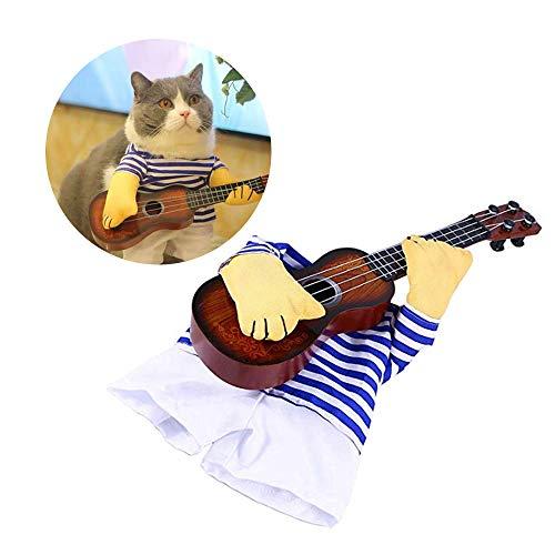 HANPIN-PETS Hunde Shirts Lustige Sänger Gitarre Kostüm Hund Kostüm-Welpen-Kostüm Hund Katze Spielen der Gitarre Lustige Katze Kleidung geeignet für coslay Partei Role Play,XL