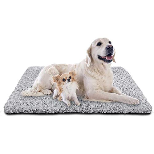 SIWA MARY Dog Bed Crate Pad Mat 30/36/42 in Anti Slip Washable Mattress Pets Kennel Pad for Large Medium Small Dogs Sleeping (40-inch,Grey)