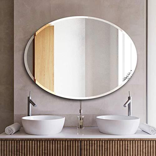 Espejo baño Pared A prueba de explosiones sin marco oval pared espejo de alta definición tridimensional de bisel de pared Aseo Baño Espejo de maquillaje Espejo de baño Baño Espejo Colgante Decoración