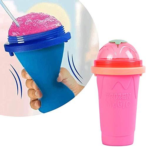 Slushy Maker Chillfactor Magic Freez, Slush Ice Maker Becher, Slush Ice Becher Plastik, Slush Ice Becher Plastik, Eisbecher Glas Set Bunt, StrohhalmlöFfel Wiederverwendbar Kurz Minzgrün Pink(New)