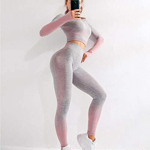 Women Seamless Yoga Set Fitness Sports Suits Gym Cloth Long Sleeve Shirts Crop Top+High Waist Leggings Workout Yoga Clothing Pink - S