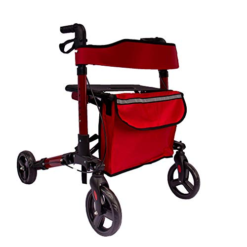 Arebos Leichtgewicht Rollator | Aluminium | 6-fach höhenverstellbar | bequeme Sitzfläche | Stockhalter |abnehmbare Einkaufstasche | zusammenklappbar | sofort einsatzbereit | rot