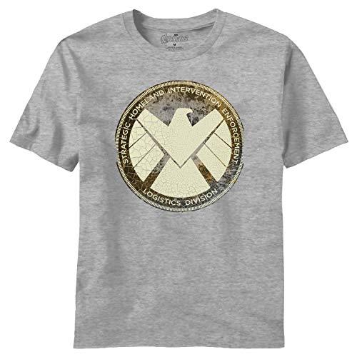 Avengers Movie Aged Shield Bruyère Gris T-Shirt   2XL