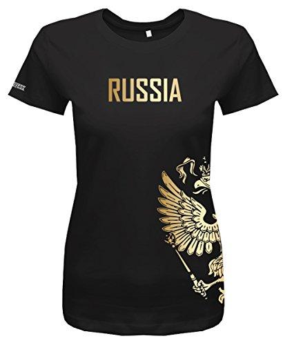 Jayess WM 2018 - Russland - Russia - Adler Gold - Fanshirt - Damen T-Shirt in Schwarz by Gr. XXXL