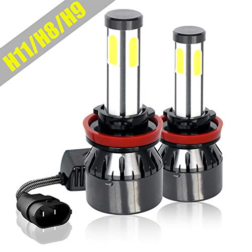 H11/H9/H8 LED Headlight Bulbs, Extremely Bright COB Chips 8000Lumens 6000K Cool White, Hi/Lo Beam/Fog Light All-in-One Conversion Kit