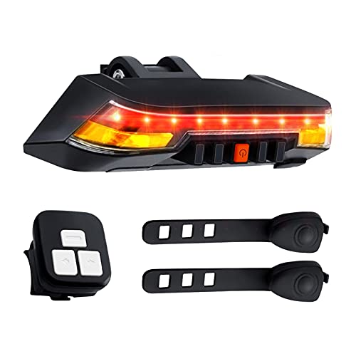 Bike Brake Light with Turn Signals, Super Bright, 2000mAh Larger Battery, Upgraded Remote Control, 8 Light Modes, Charging Indicator, IPX6 Waterproof, USB Rechargeable Smart Bicycle Tail Light for Cyc