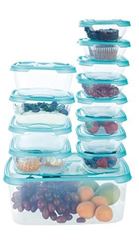 ERNESTO Aufbewahrungsdosen-Set für Lebensmittel, geeignet für Spülmaschine, Gefrierschrank, Mikrowelle, auslaufsicher, luftdicht und aromatisparend, hergestellt in Italien, 13 Stück blau