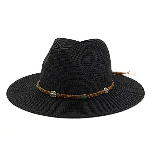 Xuguiping nieuwe casual zonnehoed unisex zomer inpakbaar stroh fedora dames panama hoed mode mannen vrouwelijk met band brede brim hoed 56-58cm zwart