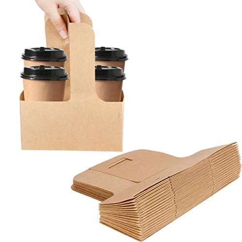 Karderon Kraft Drink Carrier with Handles, 2 Cups or 4 Cups Assemblable Kraft Cup Carriers Great for All Your Beverage Needs (40 Pack)