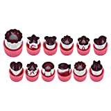 XKMY Cortador de frutas en forma de flor, 12 unidades/set de flores de dibujos animados vegetales cortador de frutas de acero inoxidable para galletas de cocina y corte de galletas (color: rosa rojo)