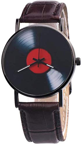 LILAODA Uhren Retro Vinyl Record Dial Faux Analog Quarz Armbanduhr Geschenk-Braun Perfect