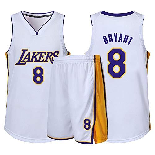 HLW Camiseta de Los Angeles Lakers, Kobe Bryant, Uniforme de Fan # 24, Uniforme de Fan # 8, Camiseta Transpirable, Jersey White8-XXXL