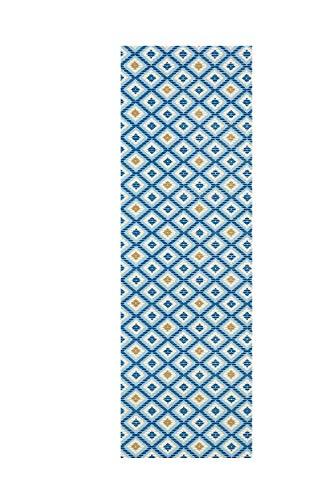 Moderner Outdoor Teppich Wetterfest regensicher schmutzabweisend für Innenbereich und Außenbereich für Garten Balkon Terrasse Badezimmer Poolmatte Aquamatte PVC Weichschaum Universalmatte (blau Raute)