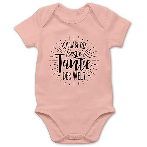 Sprüche Baby - Ich Habe die Beste Tante der Welt - 3/6 Monate - Babyrosa - Beste Tante der Welt Strampler - BZ10 - Baby Body Kurzarm für Jungen und Mädchen