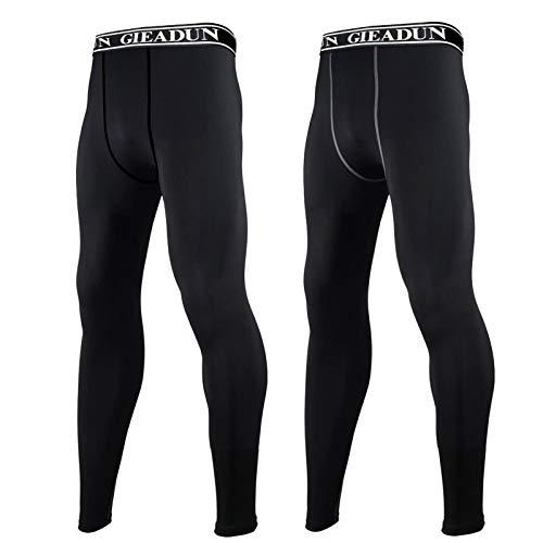 GIEADUN 2 Piezas Leggings Hombre, Pantalón de Compresión Secado Rápido Pantalones Deporte Mallas Largas para Running Fitness Yoga (Negro, M)
