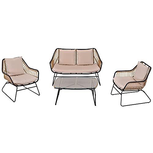 Outsunny Polyrattan Gartenbank 4-teiliges Rattensofa-Set für Pause Teetisch aus gehärtetem Glas Sitzbank mit Tisch & Kissen Stahlrahmen Stahl Polyester Khaki+Beige