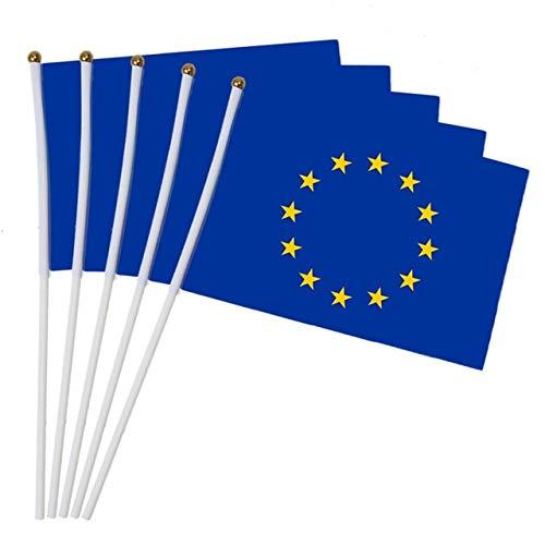 flyorigin Bandera de la Union Europea Bandera Que agita a Mano EU Bandera de la UE Poliester Escritorio Coche Euro Nacional Banderas de Mano (Paquete de 10 Piezas) EU Bandera Euproean Flag Banera