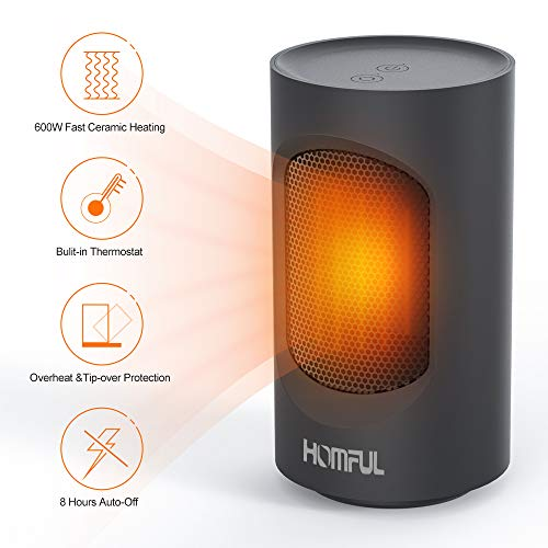 Ceramic Space Heater, HOMFUL Portable Mini Heater, 600W Swing Oscillating Electric Heater with Overheating & Dumping Protection, 2 Mode Setting, Quiet, Warm Perfect for Home & Office Use Ceramic Heater Space