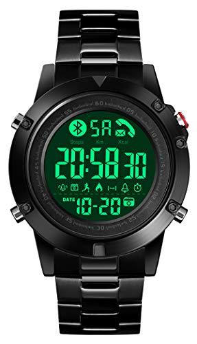 Smartwatch Herrenuhr Digital Edelstahl Kalorienzähler Wecker LED Schrittzähler Kamera Bluetooth Stoppuhr Wasserdicht Fitness Armband Männer